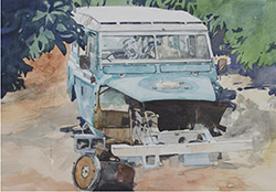 giclee of watercolour painting of Land-Rover
