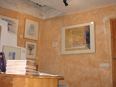 Photo of people visiting the art exhibition in my studio of original watercolour paintings by Klaus Hinkel