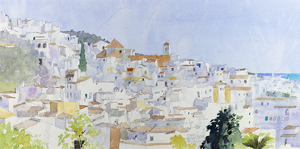 giclee of watercolour painting of Frigiliana