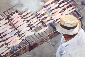giclee of watercolour painting of Barbacoa on the beach