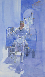 Watercolour painting Blue Express
