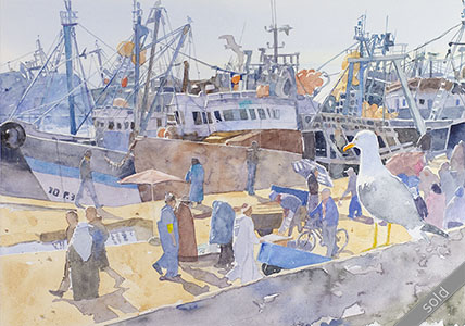Watercolour painting moroccon harbour