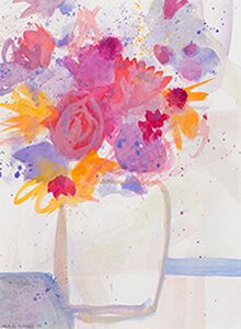 Watercolour painting Geburtstagsblumen