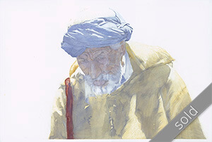 Watercolour painting Man with Turban
