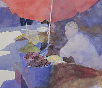 Watercolour painting Mercadillo 4