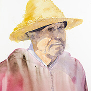 Watercolour painting Retrato con sombrero