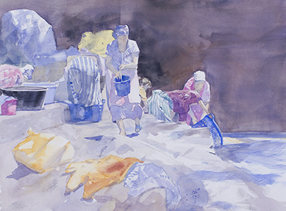 Watercolour painting Washing